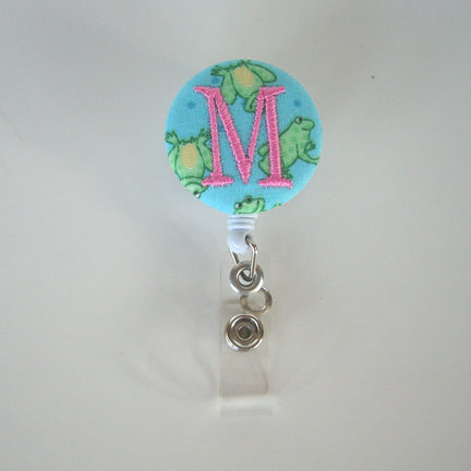 Badge reel turquoise frog where the fairy tale begins custom embroidery for Boutis turquoise